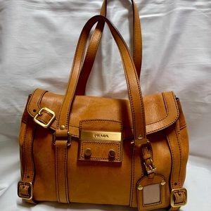 PRADA Light Brown Medium Leather Handbag